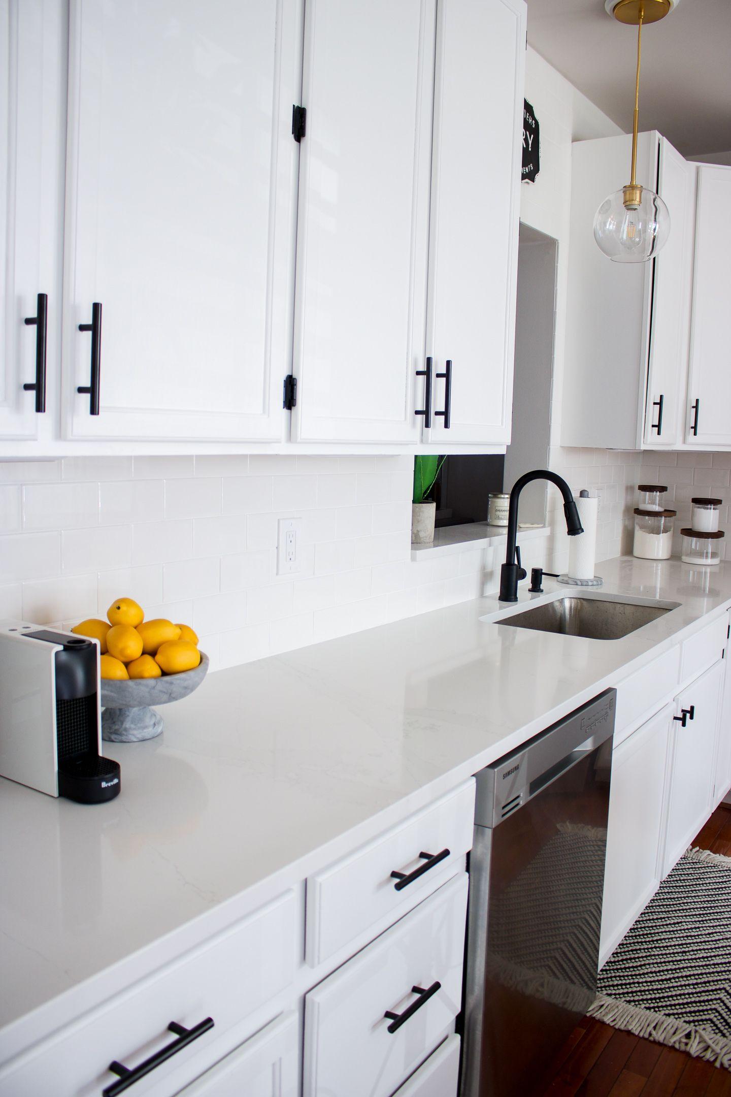 White Kitchen With Black Pulls Kitchen Design Black White Kitchen White Kitchen Design