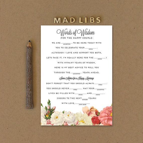 Mad Libs Printable Wedding Mad Libs Printable by lovevsdesign