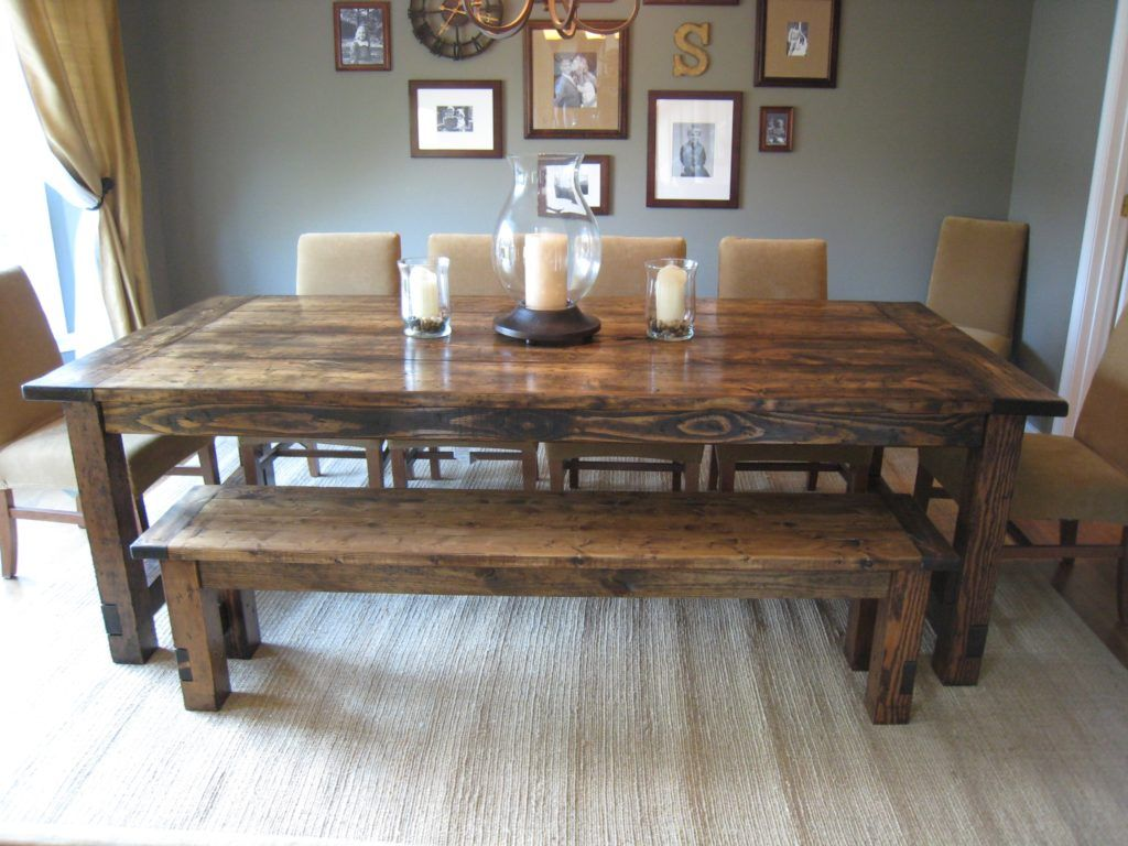 Country Kitchen Table With Bench Plans Farmhouse Dining Room