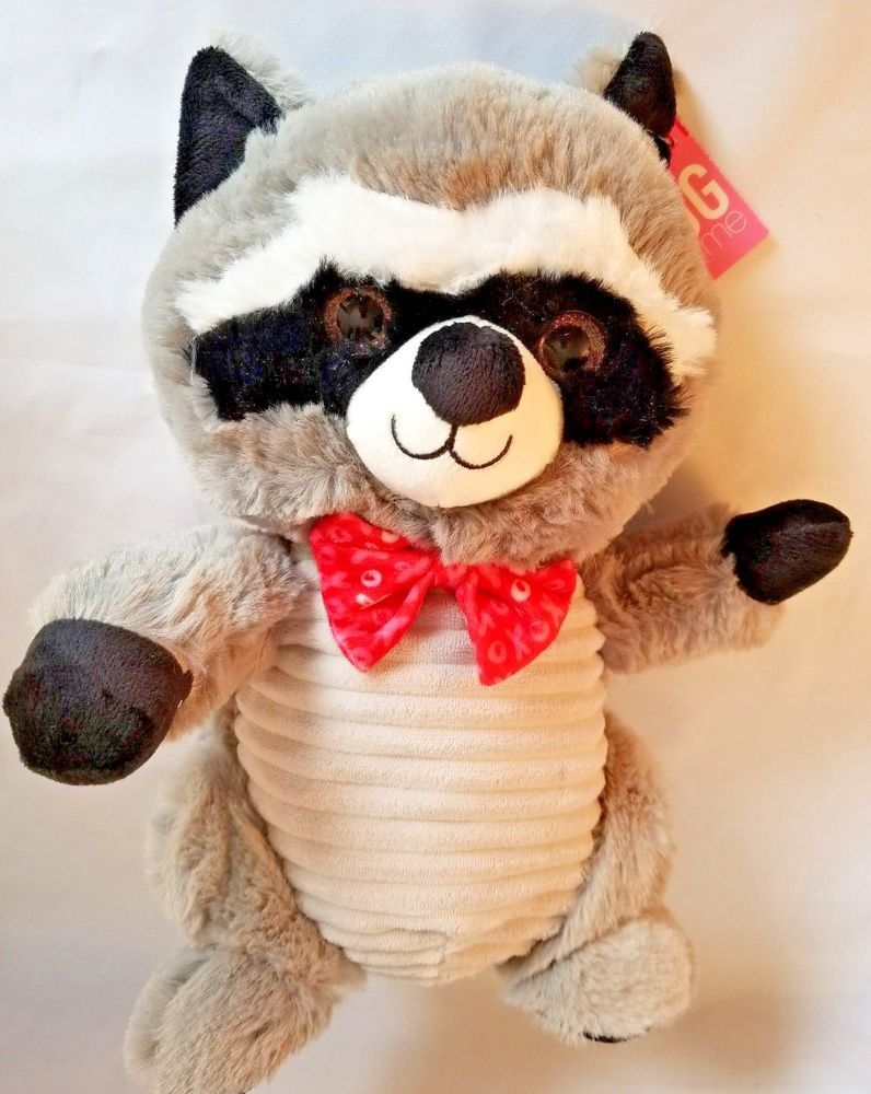Blue Big Teddy Bear, Hug Fun Raccoon Plush Stuffed Animal 11 Tall Soft Toy Gray Black Bow Xoxo Hugfun Plush Stuffed Animals Pet Toys Animals