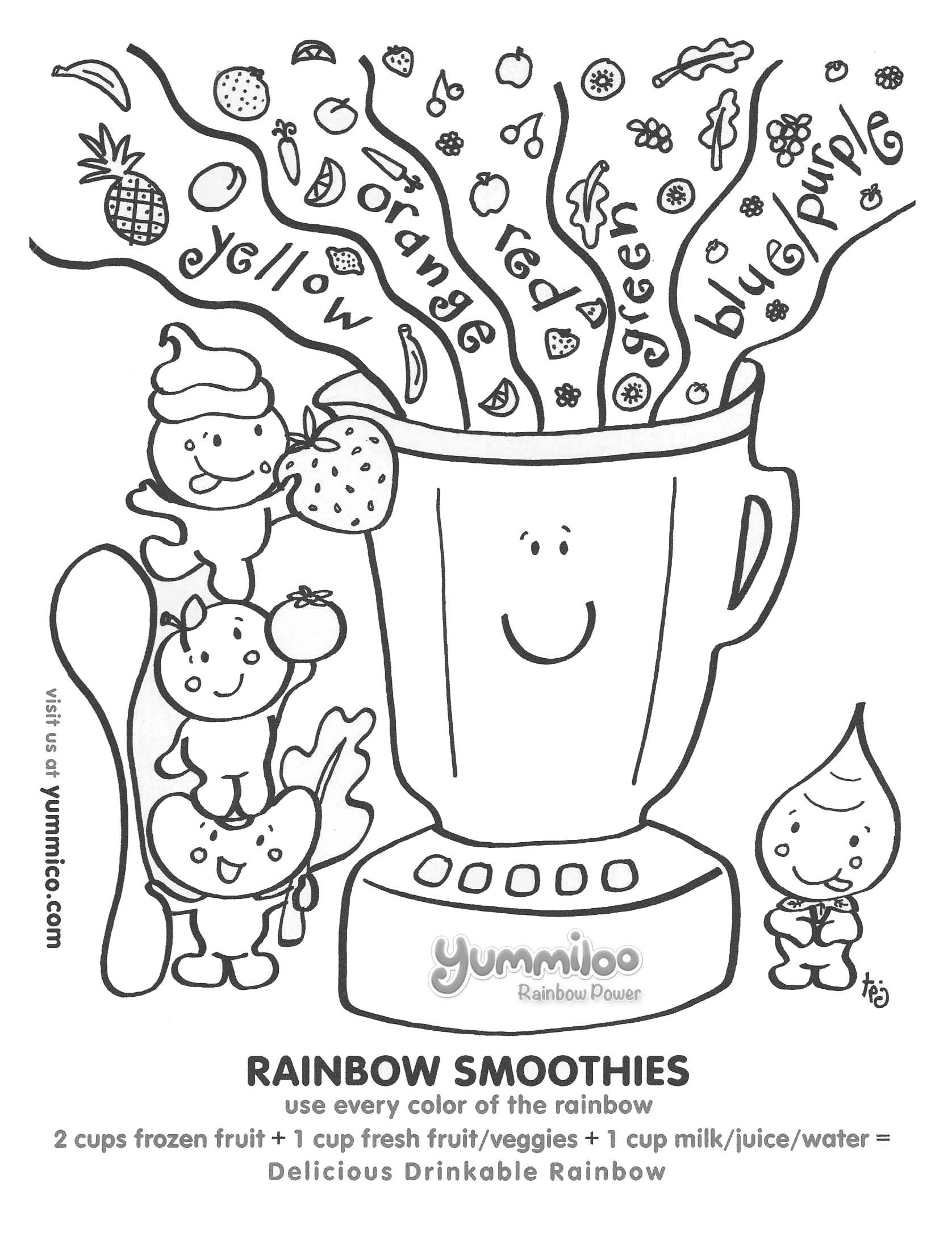 Yummiloo Rainbow Smoothies Worksheet Cute