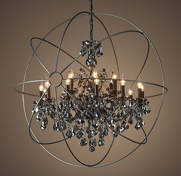 Restoration Hardware Foucault S Orb Smoke Crystal Chandelier 44 Matte Natural Iron