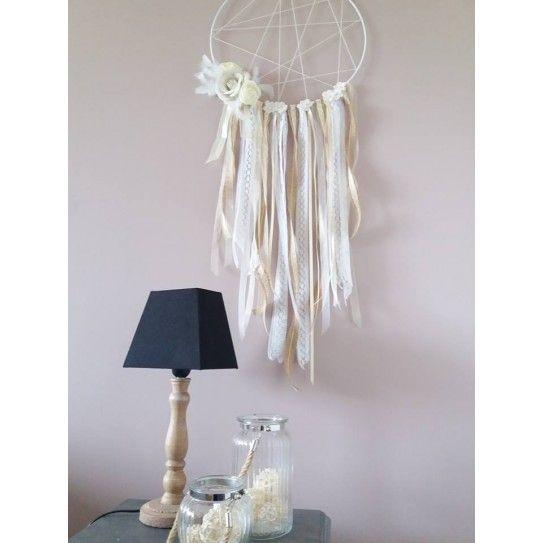 Attrape-Rêves XL DreamCatcher Dentelle & Jute - Lucy Jeanne Collection - Décoration Boho Mariage Anniversaire Chambre enfants