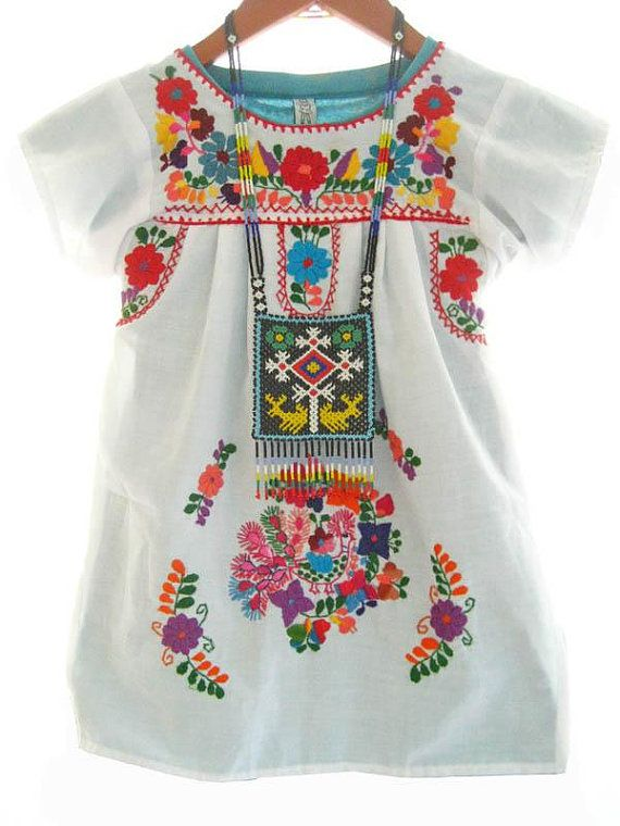 Baby mexican dress white cotton embroidered peasant