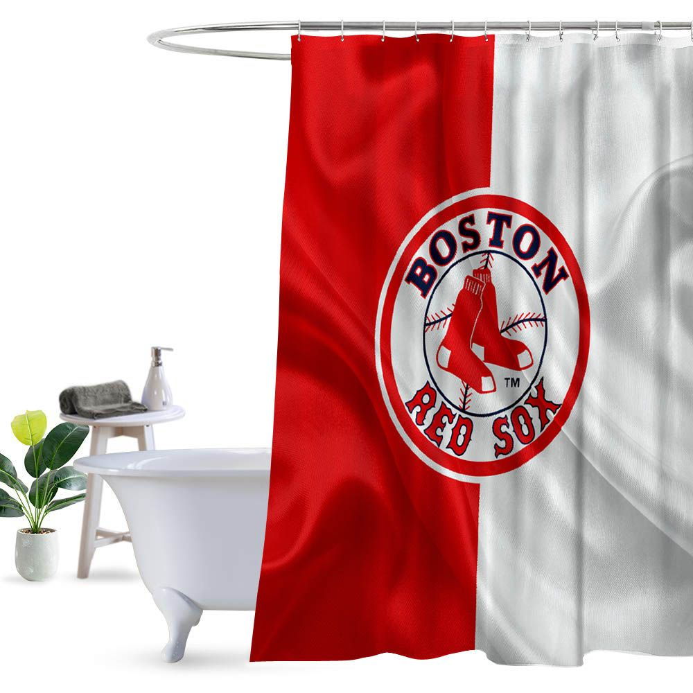 Boston Red Sox Logo Flag Shower Curtain 100 Polyester Fabric