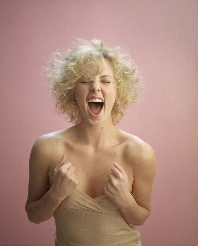 Charlize Theron Ny Blondes: Charlize Theron. Bubblegum Pink Background, Blonde Hair