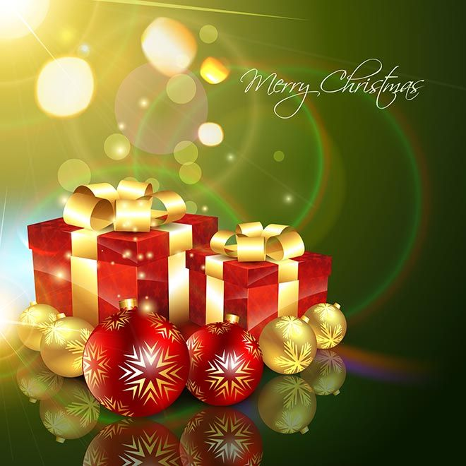 Free vector illustration of Green Merry Christmas Gift box - christmas theme background