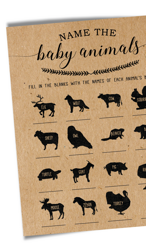 Baby Animal Names Baby Shower Game, Woodland Baby Shower