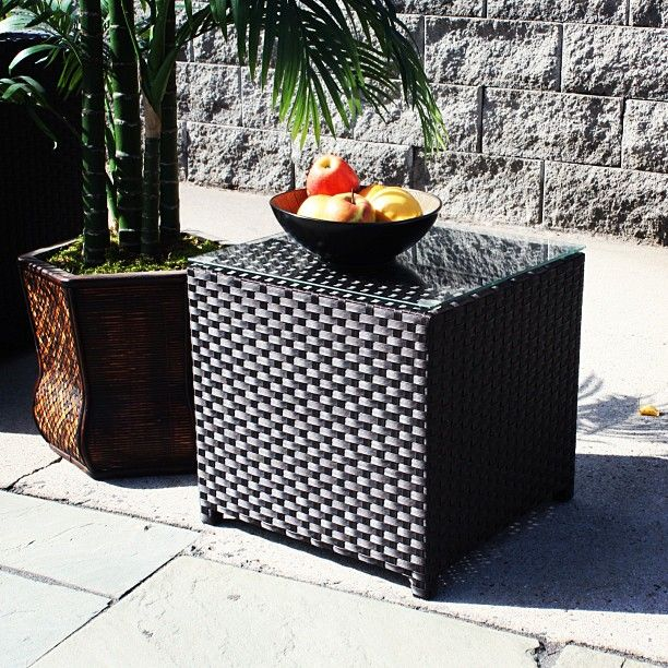 Outdoor Wicker Patio End Table Black Pinned By