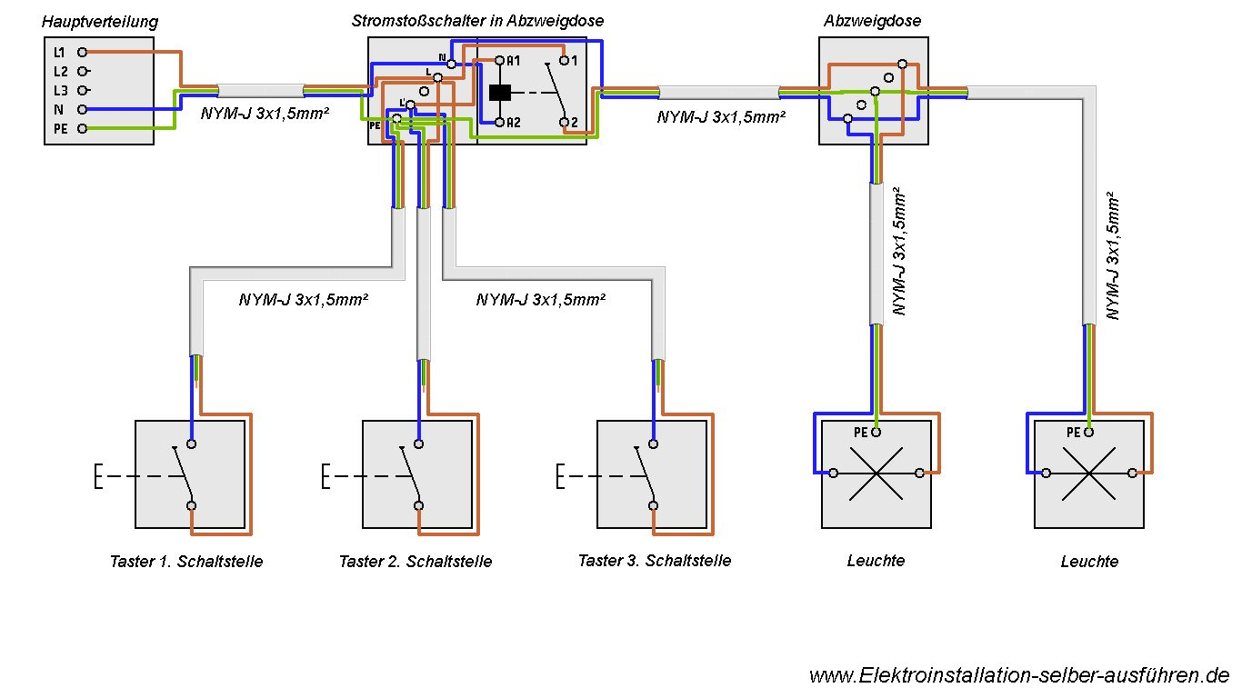 Schaltplan einer Stromstoßschaltung mit zwei Lampen | Elektrische ...