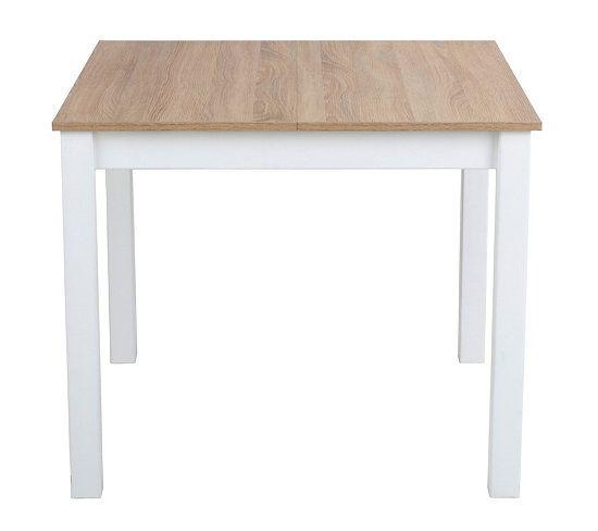 table carré avec 2 allonges ruben blanc/chêne sonoma | tables and
