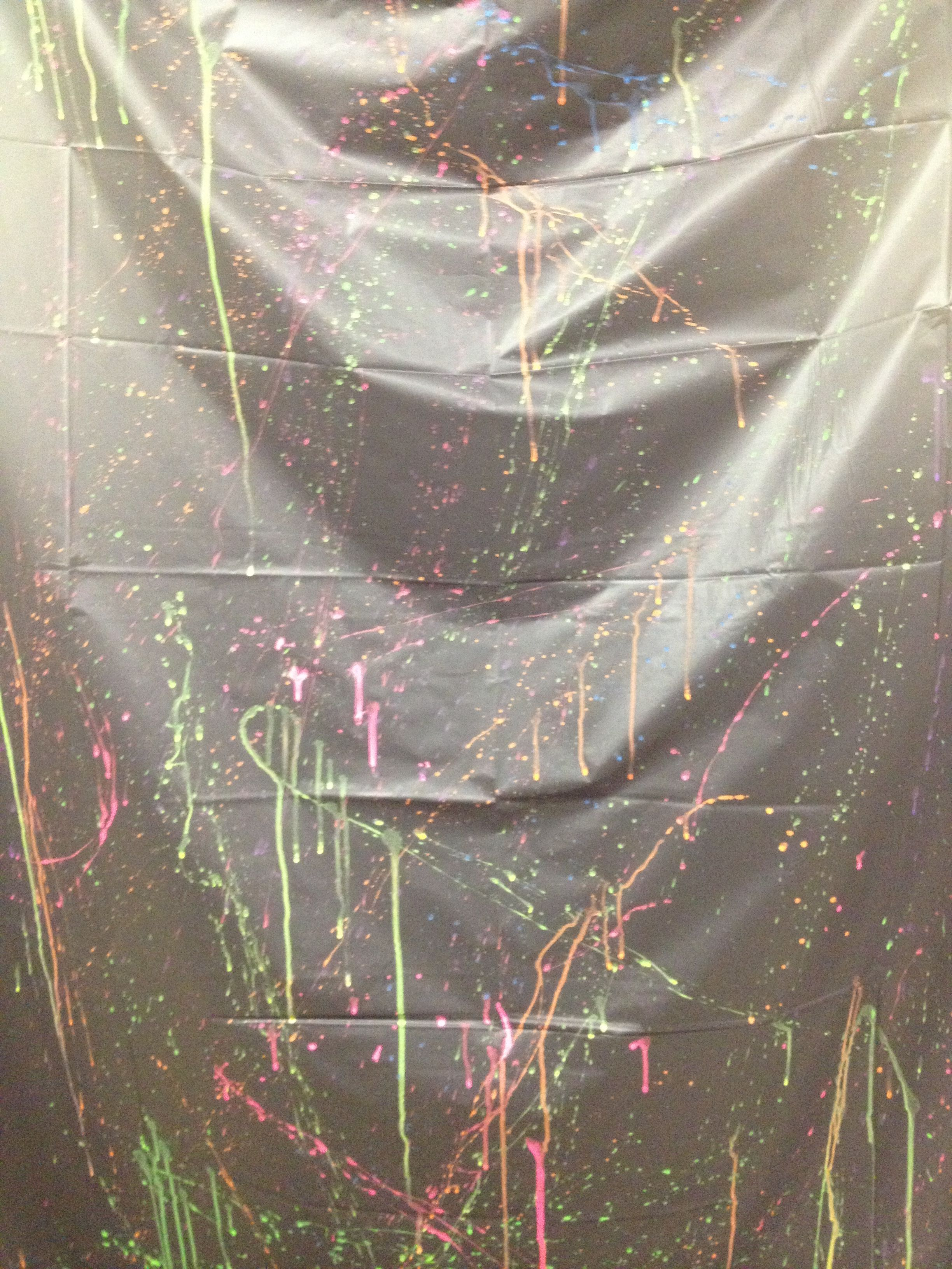 Glow In The Dark Party..take A Black Dollar Store Plastic Table Cloth U0026
