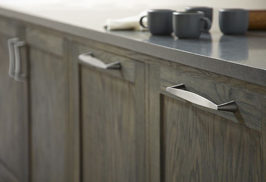 brushed nickel domestic bliss handles are great for dark cabinet finishes