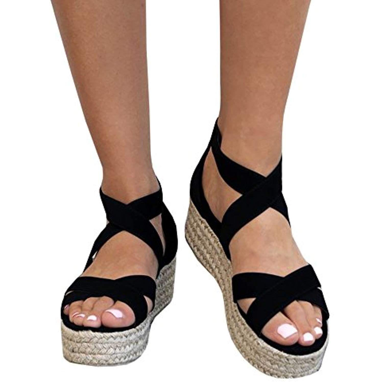 a9d4a839c1a Womens Flatform Espadrille Strappy Open Toe Flat Platform Slingback ...