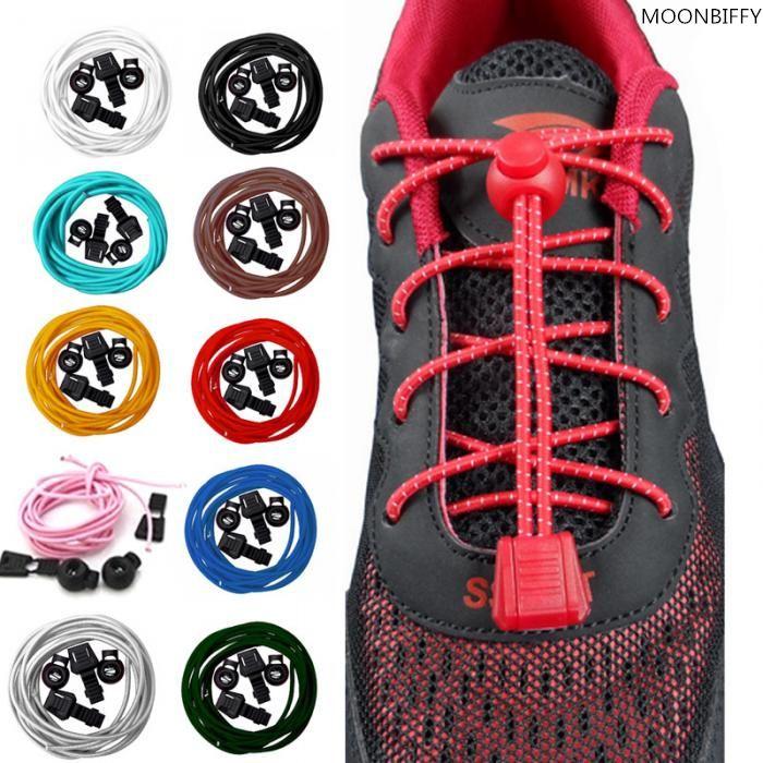 Shoelaces 2 Pairs Elastic Sports Laces Lock Triathlon Trainer Running Jogging