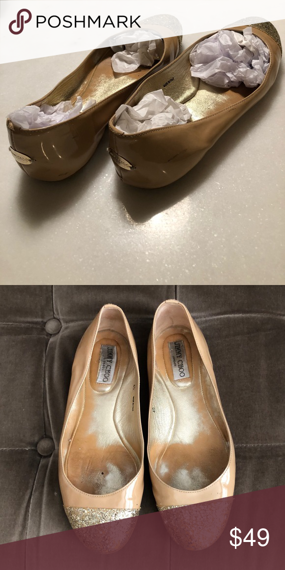 78f1d89f6baf Jimmy Choo Ballet Flats Beige patent leather with gold glitter toe and gold  flourish on heel