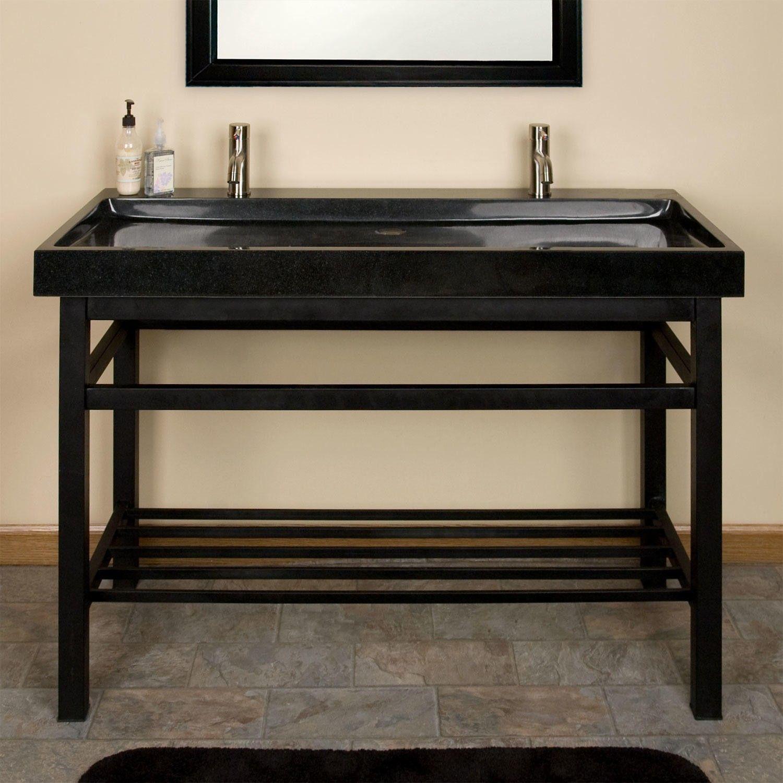 "48"" Modern Stone Trough Console Sink Polished Beige Travertine"