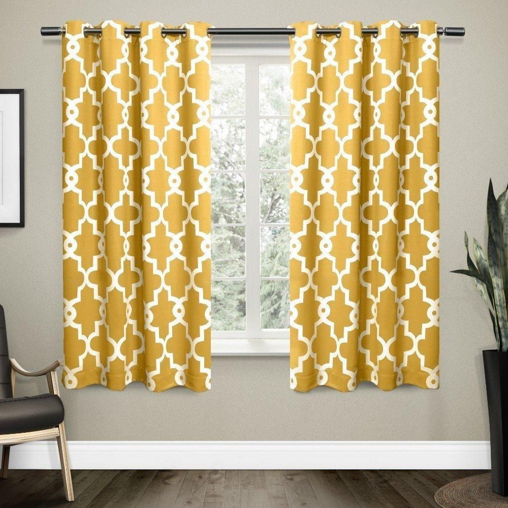63 Inch Sundress Yellow White Moroccan Curtains Panel Pair Set Gold Color Drape Medallion Geometric
