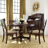 Found it at Wayfair - Moccato Round Pedestal Four Piece Dining Table Set in Distressed Dark Brown