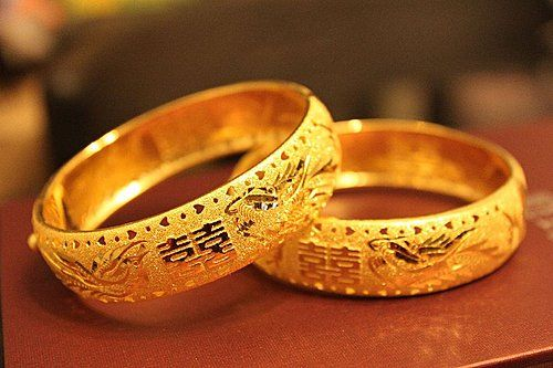 Traditional Chinese Wedding Gold Bangles