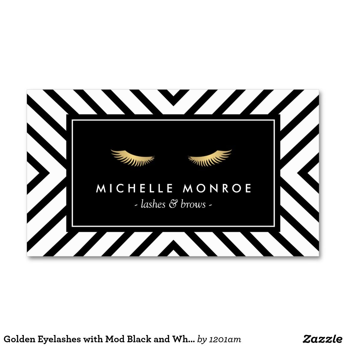 Golden eyelashes with mod black and white pattern business card golden eyelashes with mod black and white pattern business card business card templatesbusiness magicingreecefo Images