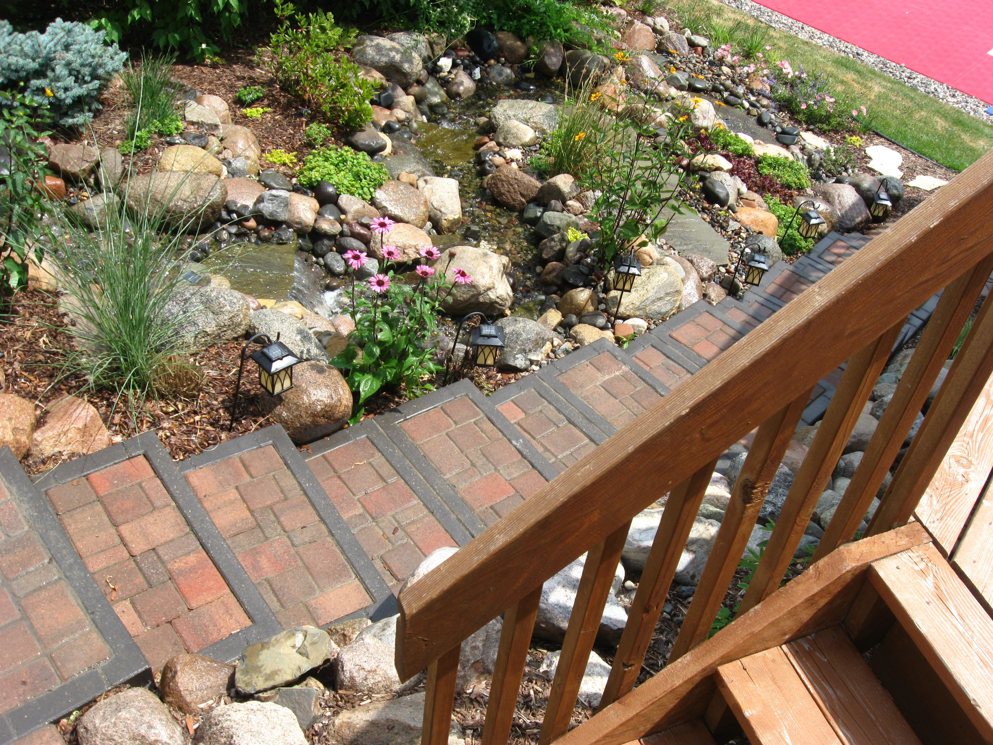 Plymouth waterfall with paver stairs | Waterfalls | Pinterest | Yard ...