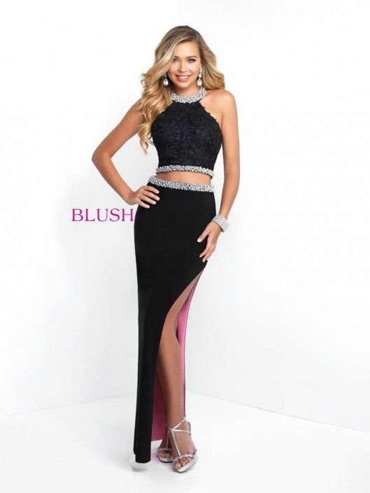 2a3470de67448 Style 11543 from Blush Prom is a sleeveless high neck two piece Prom Gown  in Jersey with beaded trim and a high side slit skirt with contrasting  lining.