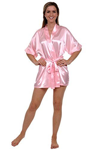 d3396e2427 Del Rossa Womens Satin Robe Short Dressing Gown Large Pink A0754PNKLG      Want to know more