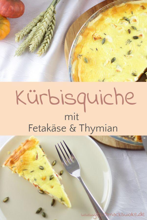 Kürbisquiche mit Fetakäse und Thymian Vegetarische Kürbisquiche mit Fetakäse und Thymian -Vegetarische Kürbisquiche mit Fetakäse und Thymian -