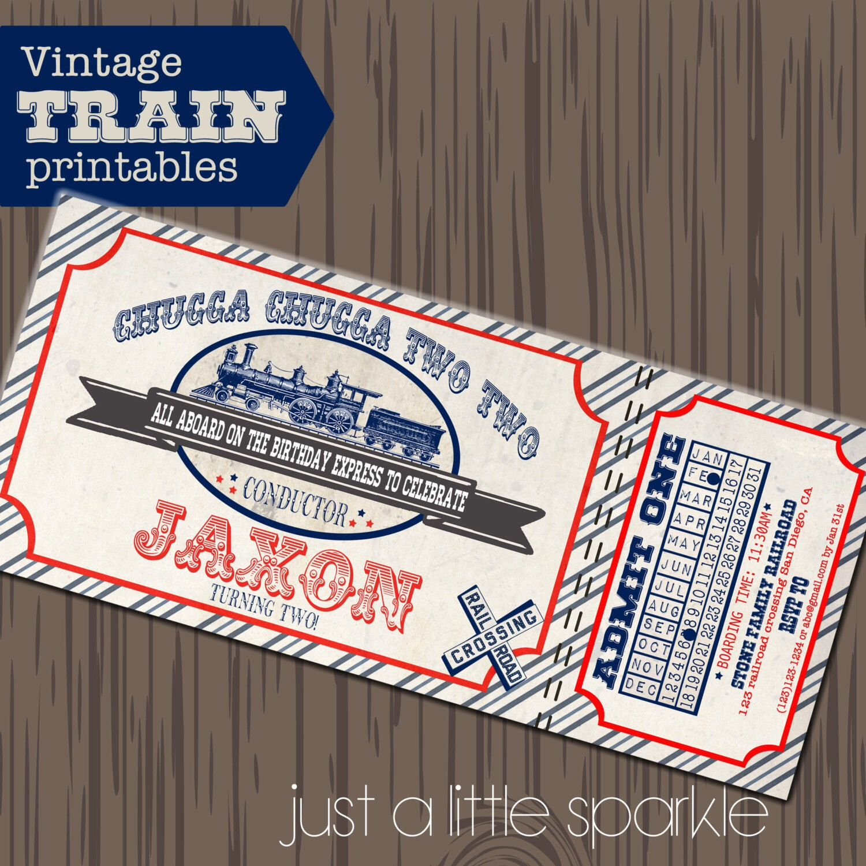 Train invitation vintage train party train printables vintage