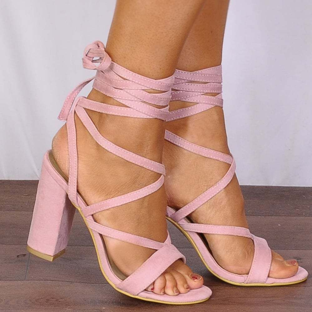 Baby Light Pink Wrap Round Lace Ups