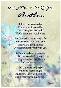 Laminated Memorial Verse Brother Graveside Memorial Card Little Brother Quotes My Brother Quotes Brother Quotes