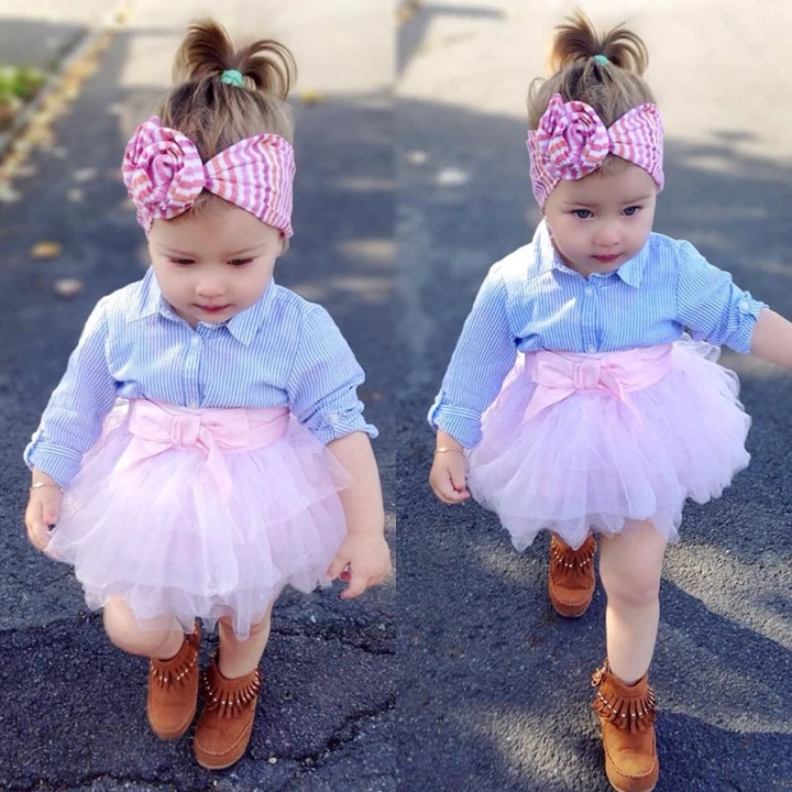 Toddler Baby Girl Striped Shirt Tutu Tulle Dress Party Holiday Dress Outfit Suit