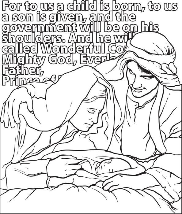 free printable mary joseph baby jesus christmas coloring page for kids