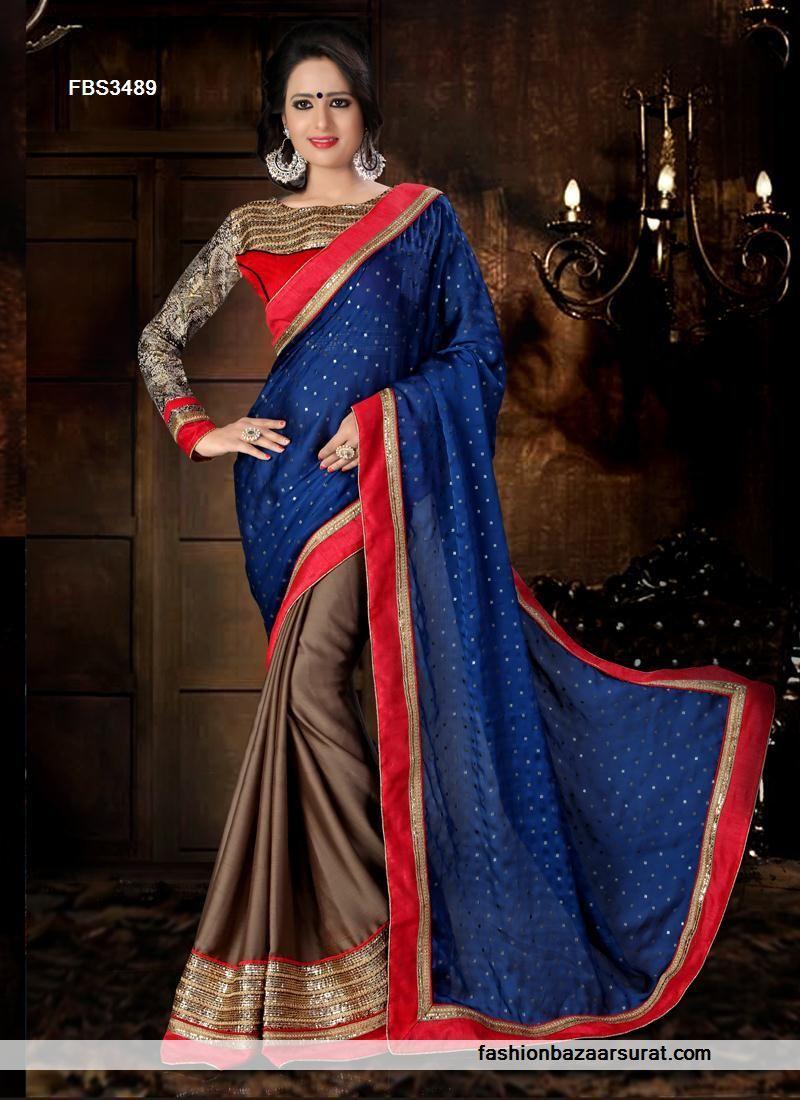 Saree for women wedding navy blue and coffee noble chiffon satin saree  buy sarees online