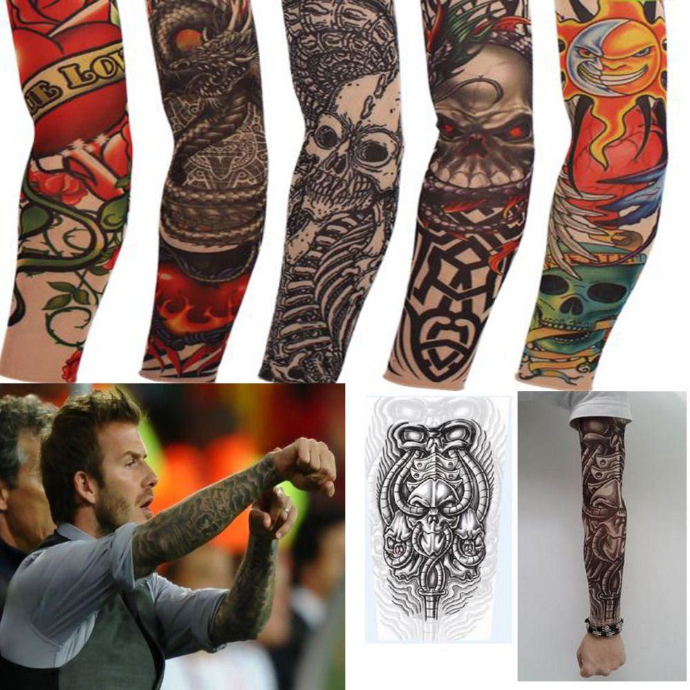 Punk fake 10 pcs new mixed 100 nylon elastic fake for Fake tattoos sleeves