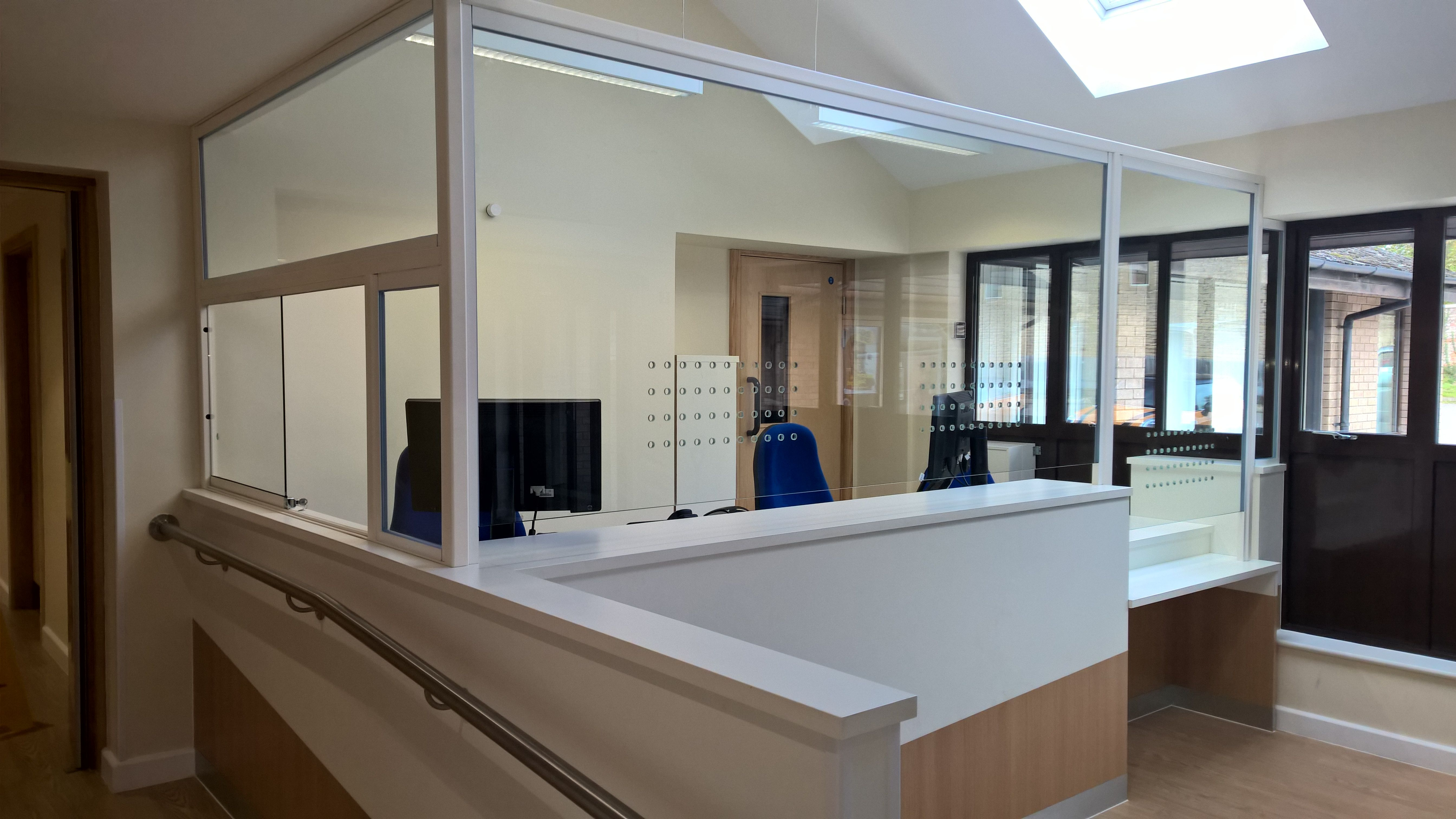 Staff In A Particularly Busy Surgery The Shires Felt Exposed While Working At Reception Desk Screen Plus Proposed Framed Toughened Gl