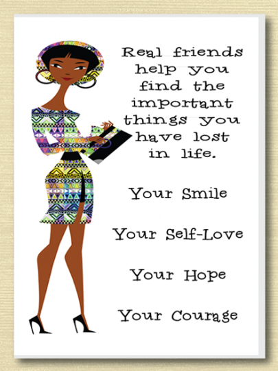 African American Real Friends Greeting Card Expressions Quotes