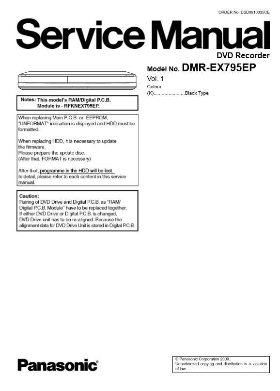 Panasonic DMR EX795 EX795EP DVD Recorder Service Manual