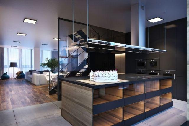 Moderne häuser innen küche  wohnbereich küche kochinsel holz glas innen leuchten ...