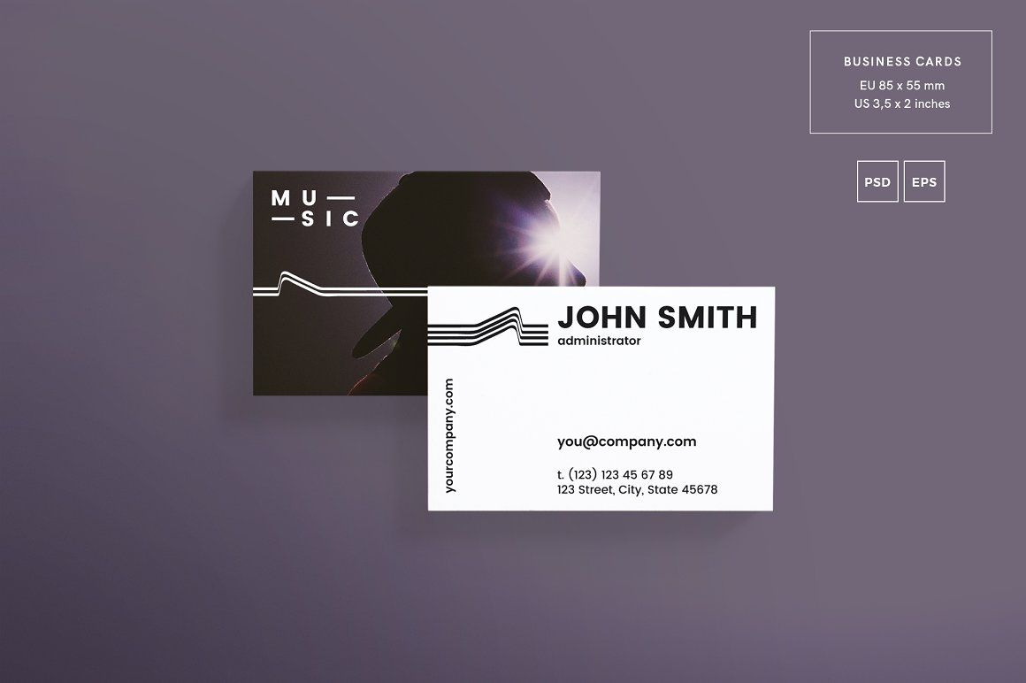 Promo Bundle | Music | Business cards, Business card design ...