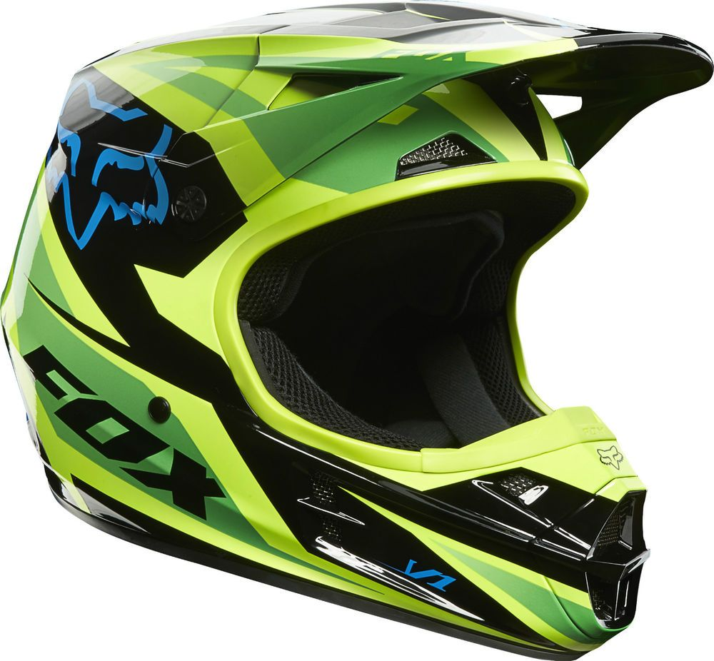 New 2014 Fox Racing V1 Race Green Helmet Motocross Sx Mx -9017