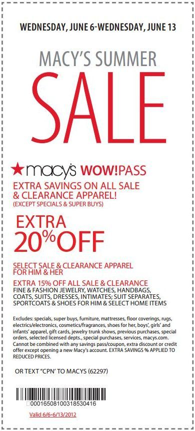 20 off sale and clearance apparel at Macy's! coupon