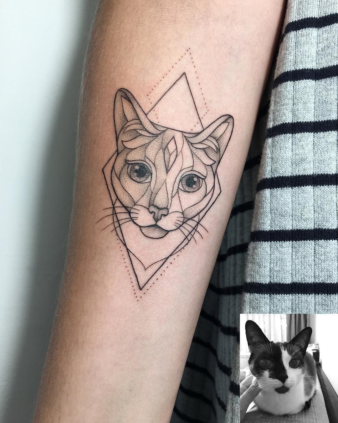 Irainkers Tattoo Geometry Cat Cat Tattoo Simple Cat Skull Tattoo Arm Tattoo