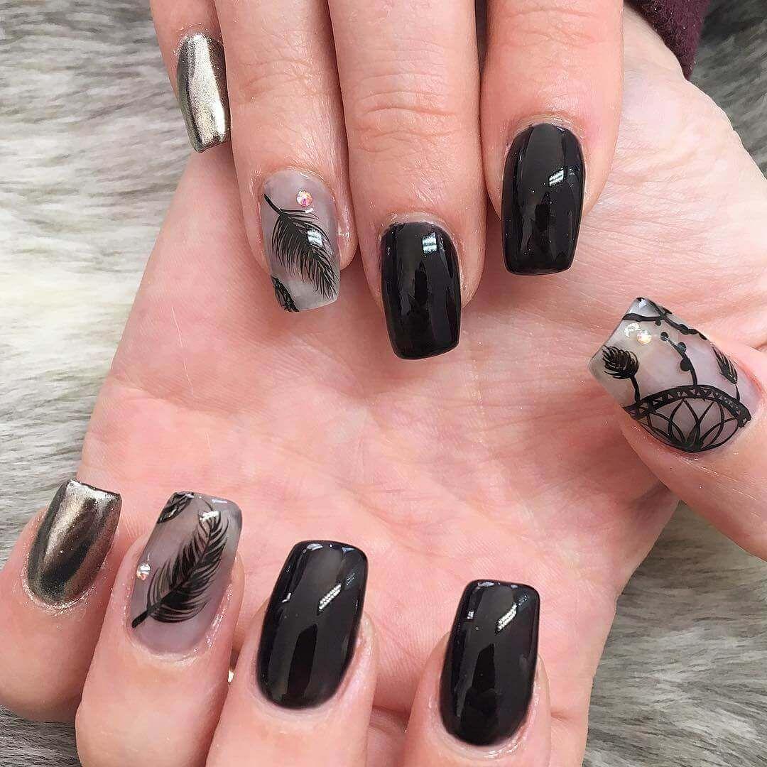 80 Diseños De Uñas Decoradas Color Negro Decoración De Uñas Nail