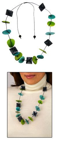 Tagua & Origami Adjustable Necklace at The Animal Rescue Site..hand-folded origami diamond shapes and brilliantly dyed tagua disks f