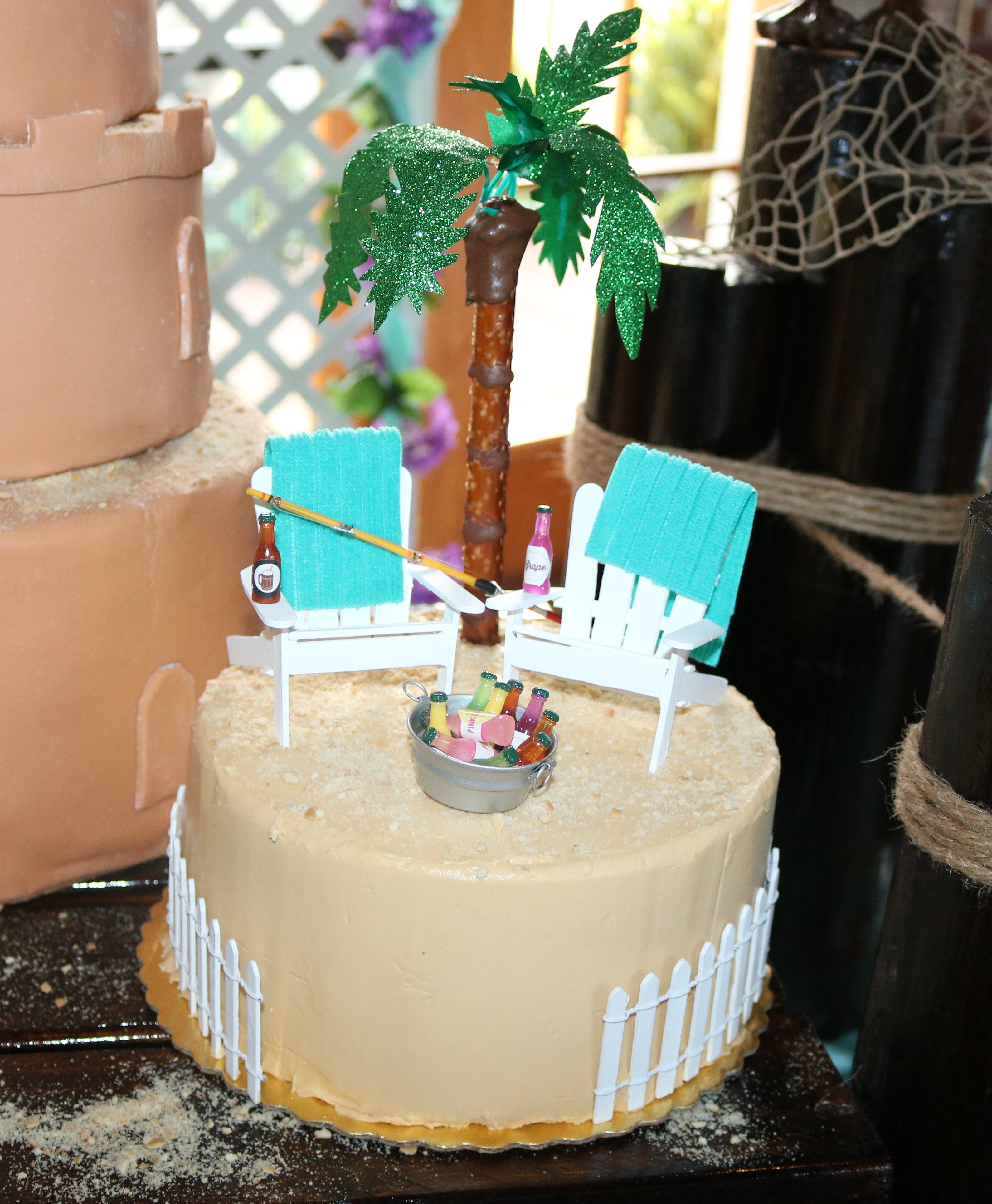 Beach Wedding Cake Chairs Made From Popsicle Sticks Towels Dollar Tree Hand