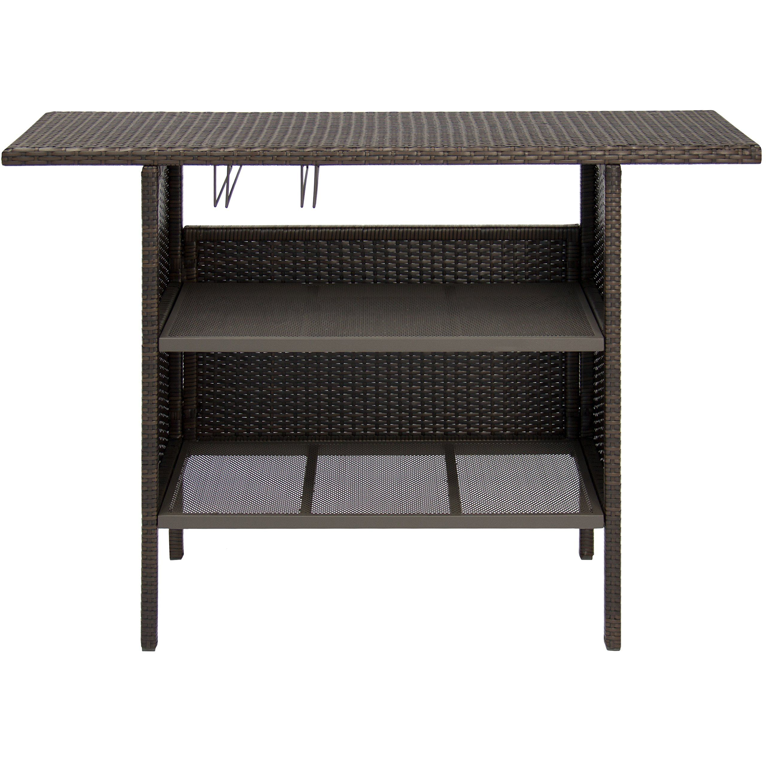 Best Choice Products Outdoor Patio Wicker Bar Counter Table W/2 Steel  Shelves 2 Sets Of Rails Brown * More Info Could Be Found At The Image Url.