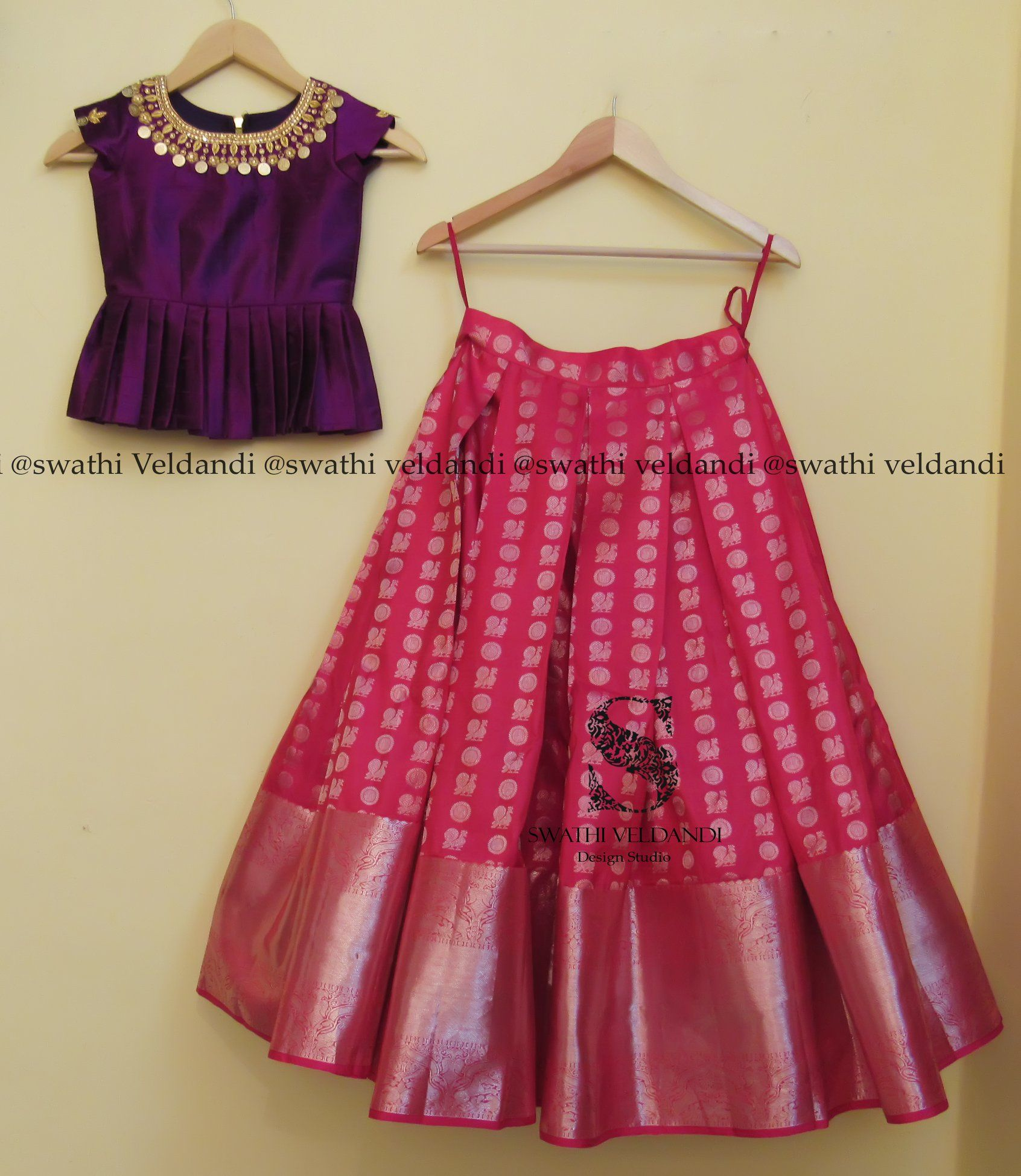 Pink dress design 2018  Beautiful pink color designer lehenga and purple color peplum top