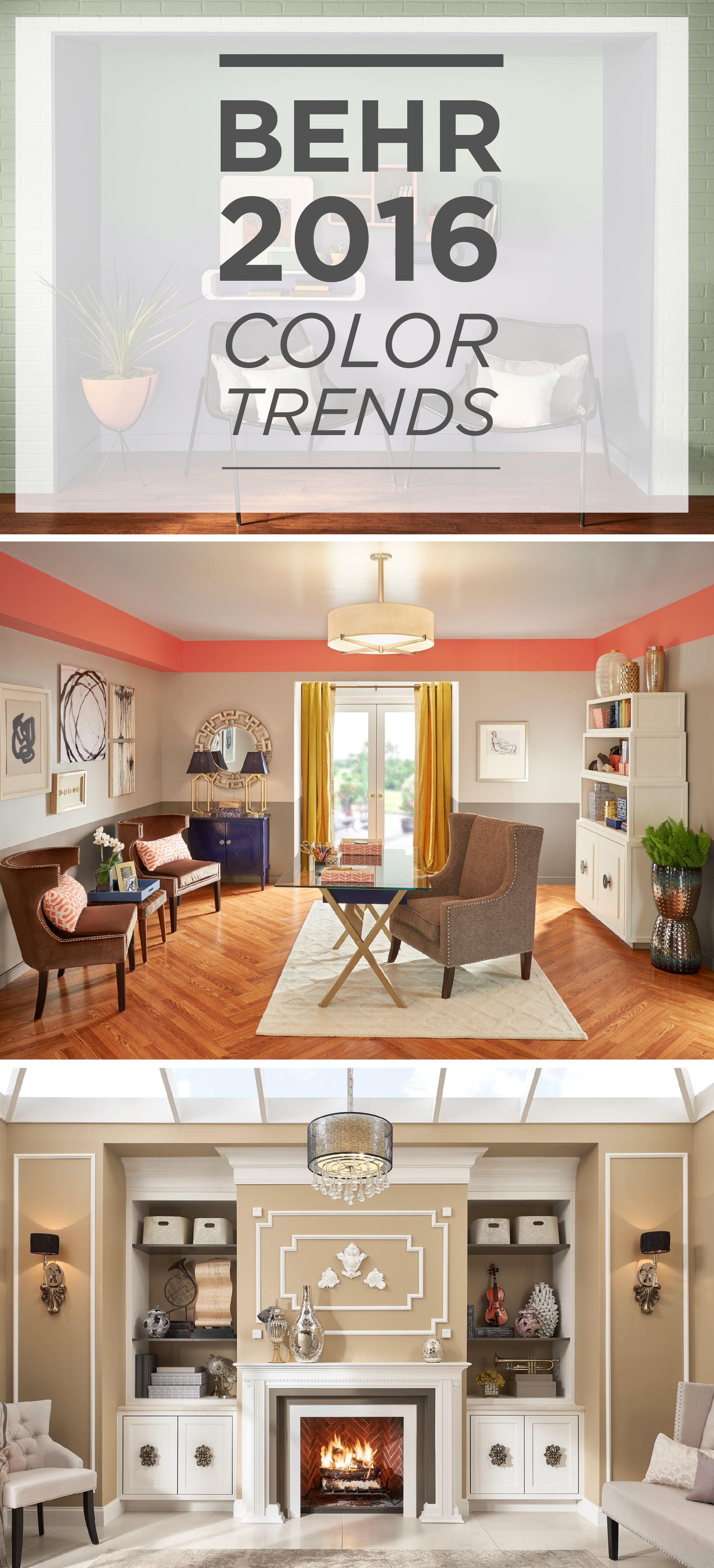 Featuring Behr Paint In Penthouse View, Coralette, Symphony Gold, And